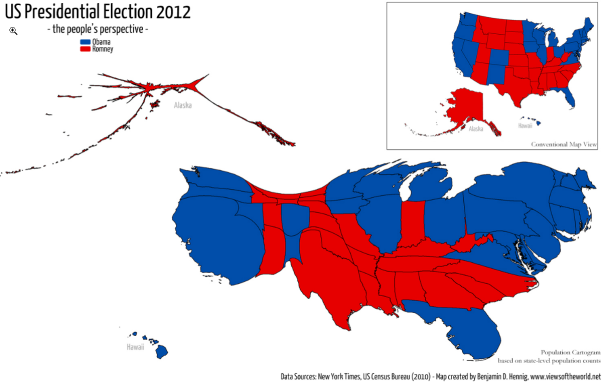 Maps Displaying Economic And Political Information Should Be Drawn - Us map population proportion to smallest state