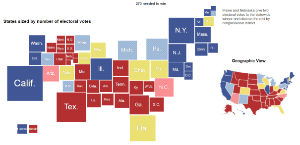 Maps Displaying Economic And Political Information Should Be Drawn - Map of us states sized by population