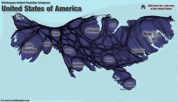 Maps Displaying Economic And Political Information Should Be Drawn - Us county population map cartogram